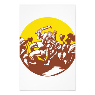 Losi Defeating God Circle Woodcut Stationery