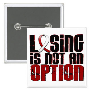 Losing Is Not An Option Head Neck Cancer 15 Cm Square Badge