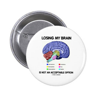 Losing My Brain Is Not An Acceptable Option 6 Cm Round Badge