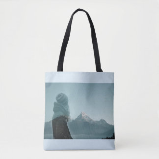Losing myself in you double exposure photography tote bag