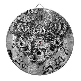 Lost and found, floral owl with sugar skull dartboard