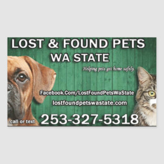 Lost & Found Pets WA state stickers