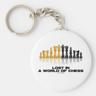 Lost In A World Of Chess (Reflective Chess Set) Basic Round Button Key Ring