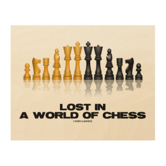Lost In A World Of Chess Reflective Chess Set Wood Wall Decor