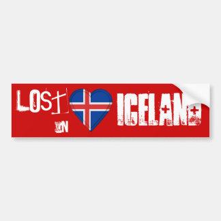Lost in Iceland  Flag Heart Bumper Sticker