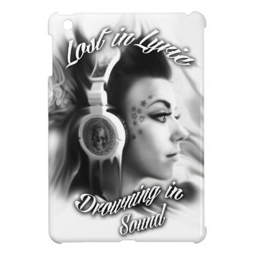 Lost in lyric trippy girl with headphones art case for the iPad mini