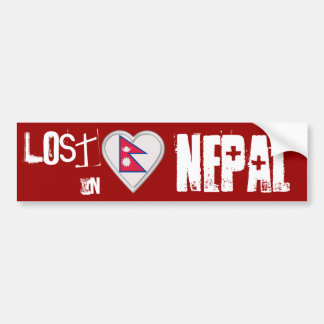 Lost in Nepal Nepalese flag heart Bumper Sticker