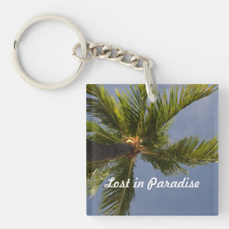 lost in paradise palm tree key chain
