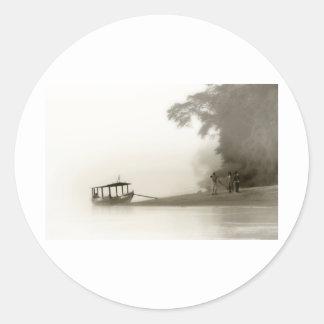 lost in the amazon mist round sticker