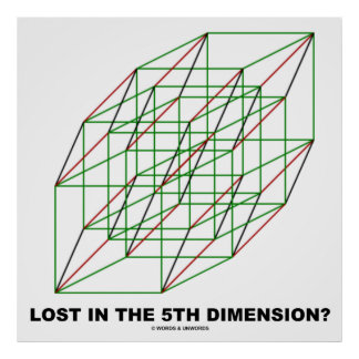 Lost In The Fifth Dimension? (Geometry Cube Humor) Poster