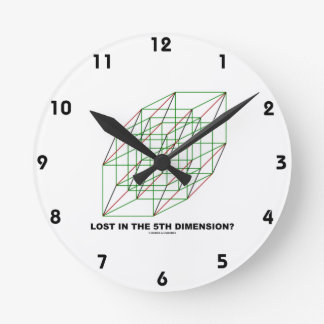 Lost In The Fifth Dimension? (Geometry Cube Humor) Round Clock