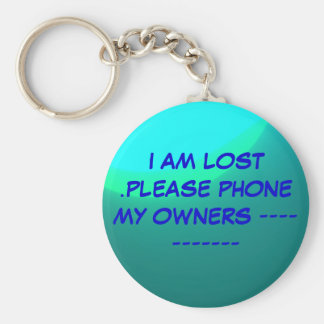 """""""Lost"""" Key ring>Please phone my owners. Basic Round Button Key Ring"""