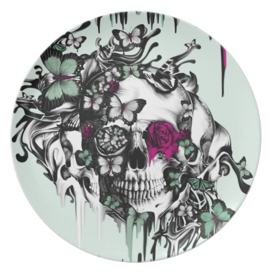 Lost soul mint and pink floral skull plate