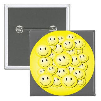 Lot of bubble smiley faces . 15 cm square badge