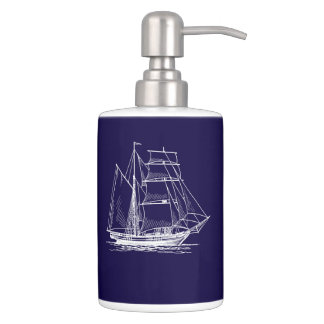 lotion toothbrush  Blue sail boat ship nautical Bathroom Set
