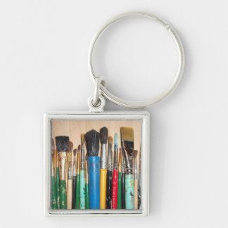 Lots of Artist Paint Brushes Key Ring