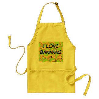 Lot's of bananas with text I love Bananas Adult Apron