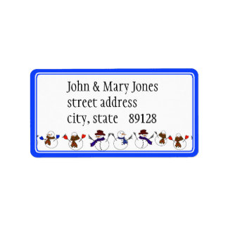 Lots of  Christmas Cartoon Snowmen Address Label