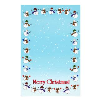 Lots of Christmas Cartoon Snowmen Stationery Paper