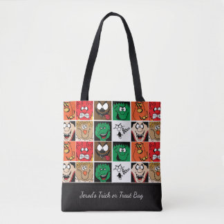 Lots of Fun Scary Halloween Faces Tote Bag