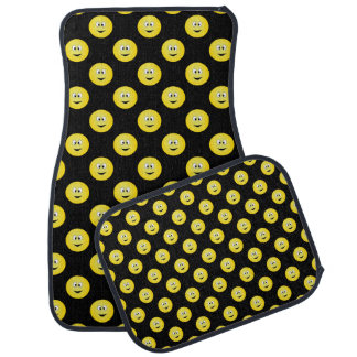 Lots Of Happy Yellow Smiley Faces On Black Car Mat