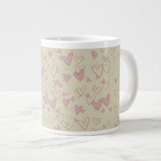 Lots of Hearts Beige Large Mug. Large Coffee Mug