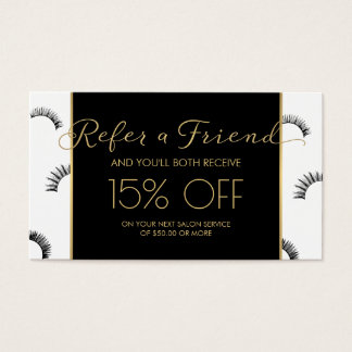 Lots of Lashes Lash Salon White/Black Referral Business Card