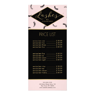 Lots of Lashes Pattern Lash Salon Pink/Black/Gold Full Color Rack Card