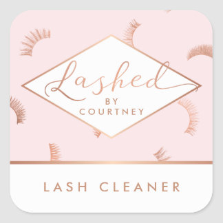 Lots of Lashes Pattern Pink/Rose Gold Lashed Text Square Sticker