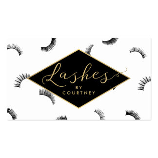 Lots of Lashes Pattern White/Black/Gold Pack Of Standard Business Cards