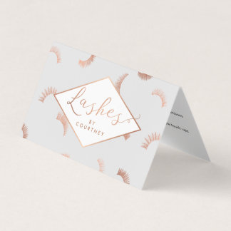Lots of Lashes Salon Gray/Rose Gold Aftercare Business Card