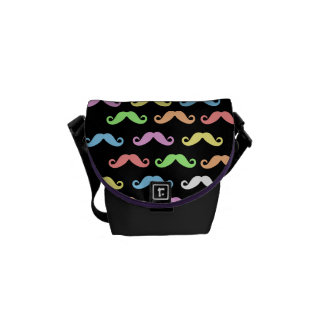 Lots of Mustaches (black) Commuter Bag