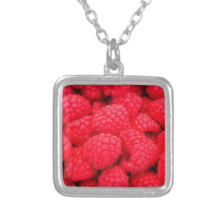 Lots of Pink Raspberries - Fruit Print Silver Plated Necklace