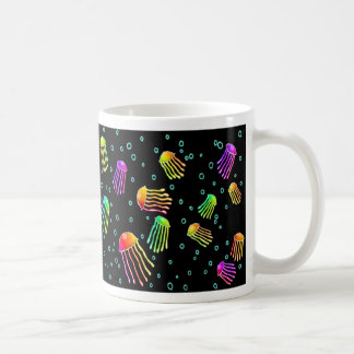 Lots of Vibrant Jellyfish - Neon Night Coffee Mug
