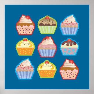 Lotsa Cupcakes Blue Poster
