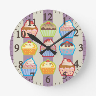 Lotsa Cupcakes Purple Stripes Round Clock