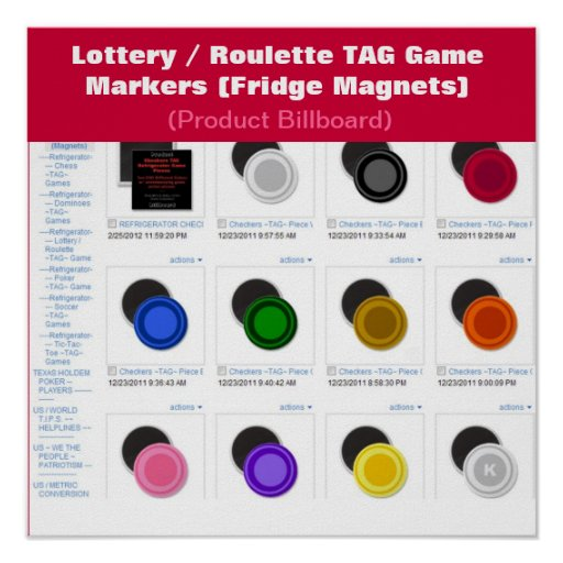 Lottery / Roulette TAG Game Markers Posters