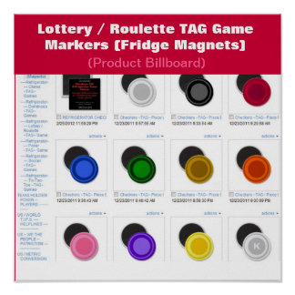 Lottery Roulette TAG Game Markers Posters
