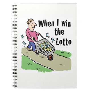 Lottery Winning Design Man with Barrow of Cash Notebook