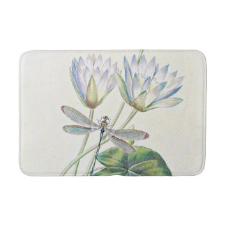 Lotus and dragonfly bath mat