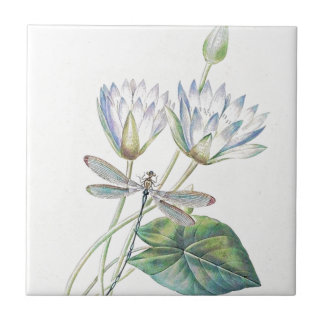 Lotus and dragonfly ceramic tile