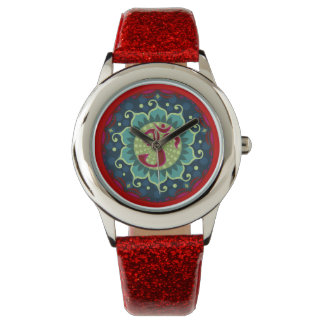 Lotus Aum - OM - Red, Blue and Teal Wrist Watch