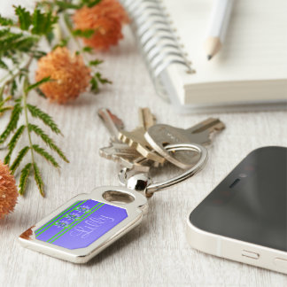 Lotus Backdrop Silver-Colored Rectangle Key Ring
