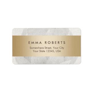 Lotus Background Gold Striped Elegant Linen Address Label