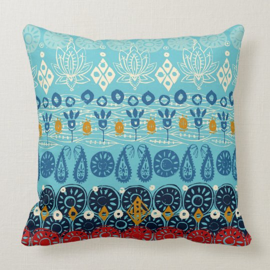 lotus block blue cushion