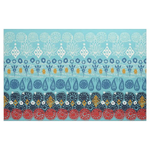 lotus block blue fabric