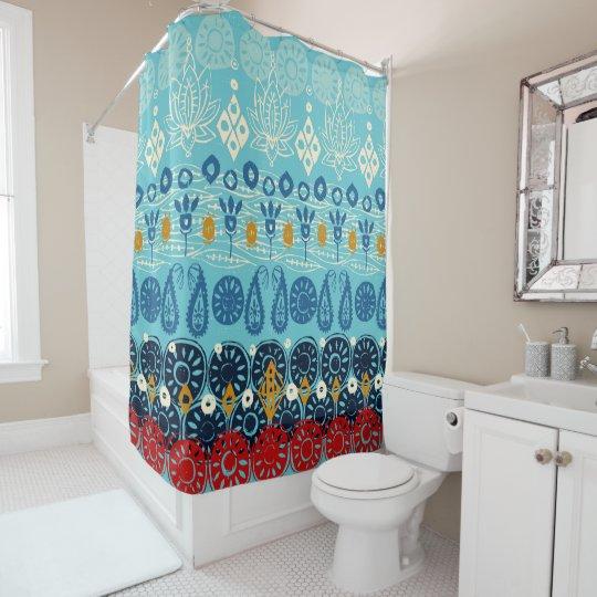 lotus block blue shower curtain