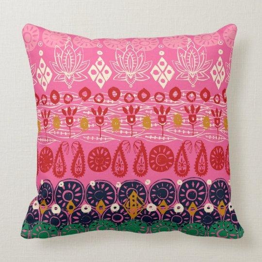 lotus block pink cushion