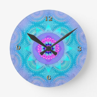 Lotus Bloom Turquoise Mandala Clocks