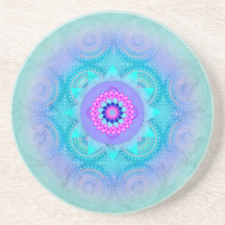 Lotus Bloom Turquoise Mandala Coaster